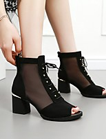 cheap -Women's Sandals Summer Chunky Heel Open Toe Daily Suede White / Black