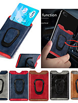 cheap -Universal Leather Card Holder Wallet with Metal Mobile Phone Finger Ring Holder 360 Rotate Stand for iphone Sumsang Huawei Xiaomi One Plus Magnetic Car Holder