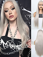 cheap -Synthetic Lace Front Wig Straight Free Part Lace Front Wig Long Grey Synthetic Hair 18-26 inch Women's Soft Adjustable Party Green Gray