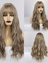 cheap -Synthetic Wig Matte Water Wave Middle Part Neat Bang Wig Long Grey Synthetic Hair 26 inch Women's Lovely Fluffy Dark Gray