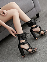 cheap -Women's Sandals Heel Sandals Black Sandals Summer Block Heel Open Toe Roman Shoes Daily PU Black