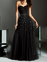 cheap -A-Line Minimalist Black Party Wear Prom Dress Strapless Sleeveless Floor Length Chiffon with Pleats Beading 2020