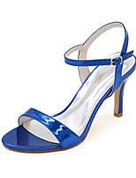 cheap -Women's Wedding Shoes Spring / Summer Stiletto Heel Open Toe Minimalism Wedding Party & Evening Solid Colored Patent Leather Black / Gold / Blue