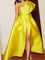 cheap -A-Line Elegant Yellow Engagement Formal Evening Dress One Shoulder Sleeveless Floor Length Satin with Pleats Split 2020