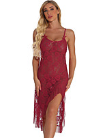 cheap -Women's Backless / Flower / Split Suits Nightwear Solid Colored Wine Red White S M L