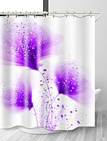 cheap -Purple Fresh Flowers Digital Print Waterproof Fabric Shower Curtain for Bathroom Home Decor Covered Bathtub Curtains Liner Includes with Hooks
