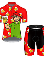 cheap -21Grams Men's Short Sleeve Cycling Jersey with Shorts Polyester Black / Red Funny Oktoberfest Beer Bike Clothing Suit Breathable Quick Dry Ultraviolet Resistant Reflective Strips Sweat-wicking Sports