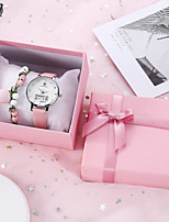 cheap -Women's Quartz Watches New Arrival Fashion White Pink PU Leather Quartz Blushing Pink White Chronograph Cute New Design 1 set Analog