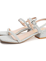 cheap -Women's Sandals Summer Block Heel Open Toe Sweet Daily Outdoor Polyester Gold / Silver