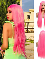 cheap -Synthetic Lace Front Wig Straight Gaga Middle Part Lace Front Wig Long Pink Synthetic Hair 22-26 inch Women's Heat Resistant Women Hot Sale Pink / Glueless