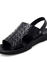 cheap -Men's Spring / Summer Casual / Beach Daily Outdoor Sandals Crocodile Breathable Non-slipping Wear Proof Black