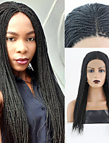 cheap -Synthetic Lace Front Wig Box Braids Plaited Middle Part Braid Lace Front Wig Pink Long Black#1B Synthetic Hair 18 24 inch Women's Soft Party Women Black Pink