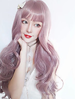 cheap -Synthetic Wig Curly With Bangs Wig Long Light golden Pink+Red Silver grey Synthetic Hair 18 inch Women's Women Easy dressing Lovely Pink Gray