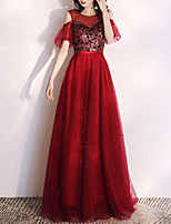 cheap -A-Line Glittering Red Engagement Formal Evening Dress Illusion Neck Short Sleeve Floor Length Tulle with Sequin 2020