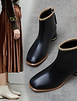 cheap -Women's Boots Spring & Summer Low Heel Square Toe Daily PU Black / Gold / Black / Beige