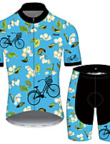 cheap -21Grams Men's Short Sleeve Cycling Jersey with Shorts Blue Floral Botanical Bike UV Resistant Quick Dry Sports Patterned Mountain Bike MTB Road Bike Cycling Clothing Apparel / Stretchy