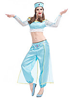 cheap -Princess Jasmine Pants Hat Outfits Women's Movie Cosplay Halloween Light Blue Top Pants Hat Halloween Carnival Masquerade Polyster