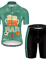 Недорогие -21Grams Муж. С короткими рукавами Велокофты и велошорты Полиэстер Черный / зеленый Ретро Пиво Октоберфест Велоспорт Наборы одежды Дышащий 3D / Эластичная / Горные велосипеды / Шоссейные велосипеды