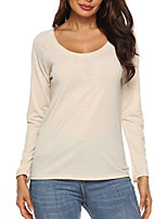 cheap -Women's Solid Colored Backless Cut Out T-shirt Daily Blue / Beige