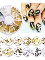 cheap -1 Box 3D Nail Art Decoration in Wheel Multi-size Nail Studs Pearl  Geometry Gold Rivet Mini Beads DIY Nail Rhinestones Decor
