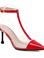 cheap -Women's Sandals Summer Stiletto Heel Pointed Toe Daily PU Black / Red / Clear / Transparent / PVC