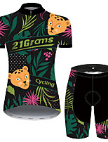 cheap -Women's Short Sleeve Cycling Jersey with Shorts Black / Green Floral Botanical Bike Breathable Quick Dry Sports Patterned Mountain Bike MTB Road Bike Cycling Clothing Apparel / Micro-elastic