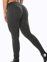cheap -Women's Basic Legging - Solid Colored Mid Waist Black Gray S M L