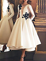 cheap -Ball Gown Luxurious Vintage Engagement Prom Dress Illusion Neck Long Sleeve Ankle Length Satin with Appliques 2020