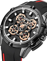 cheap -Men's Sport Watch Japanese Quartz Silicone 30 m Water Resistant / Waterproof Day Date Analog Fashion Cool - Black / Silver Black+Gloden Black One Year Battery Life
