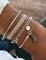 cheap -4pcs Women's Bracelet Layered Vintage Theme Simple Tassel European Fashion Alloy Bracelet Jewelry Silver For Gift Prom Date Beach Festival