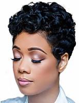 Недорогие -Парики из искусственных волос Матовое стекло Глубокий курчавый Короткий Боб Парик Короткие Черный Искусственные волосы 6 дюймовый Жен. утонченный вьющийся пушистый Черный