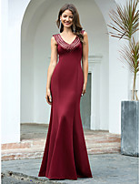 cheap -Mermaid / Trumpet Sexy Red Engagement Formal Evening Dress V Neck Sleeveless Floor Length Cotton with Sequin 2020