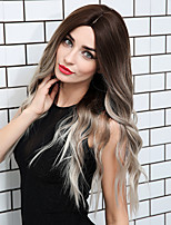 cheap -Ombre Hair Weaves / Hair Bulk Synthetic Wig Curly Water Wave Middle Part Side Part Neat Bang Wig Ombre Very Long Ombre White Synthetic Hair 26 inch Women's Cosplay Women Synthetic Brown Ombre HAIR