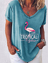 cheap -Women's Animal Letter T-shirt Daily White / Black / Blue / Blushing Pink / Army Green / Gray