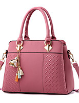 cheap -Women's Zipper PU Top Handle Bag Leather Bags Solid Color Wine / Black / Red