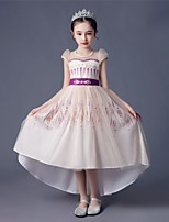 cheap -Princess Anna Dress Flower Girl Dress Girls' Movie Cosplay A-Line Slip Beige Dress Children's Day Masquerade Tulle Polyester