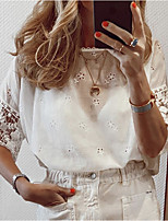 cheap -Women's Solid Colored Lace Trims T-shirt Daily White