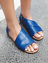 cheap -Women's Sandals Flat Sandal Summer Flat Heel Open Toe Daily PU Black / Yellow / Blue