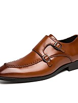 cheap -Men's Spring / Summer Business / Casual Wedding Daily Loafers & Slip-Ons Walking Shoes Faux Leather Non-slipping Wear Proof Light Brown / Black