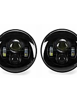 cheap -2 x 7 Round LED Projection Headlights Head Lamp Hight/Low Beam For Jeep Wrangle