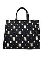 cheap -Women's Zipper Cowhide Crossbody Bag / Top Handle Bag Geometric Pattern Black / White