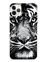 cheap -Case For Apple iPhone 11/11 Pro/11 Pro Max/XS/XR/XS Max/8 Plus/7 Plus/6S Plus/8/7/6/6s/SE/5/5S Transparent Pattern Back Cover White Tiger Soft TPU