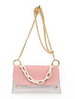 cheap -Women's Chain PVC / PU Top Handle Bag Leather Bags Solid Color White / Black / Blue / Fall & Winter
