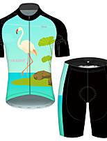 Недорогие -21Grams Муж. С короткими рукавами Велокофты и велошорты Зеленый / черный Фламинго Цветочные ботанический Велоспорт Устойчивость к УФ Быстровысыхающий Виды спорта Фламинго / Эластичная