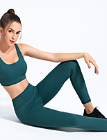 cheap -Women's 2pcs Tracksuit Yoga Suit Solid Color Black Yellow Green Running Fitness Gym Workout High Waist Tights Leggings Bra Top Sport Activewear Breathable Tummy Control Butt Lift Moisture Wicking