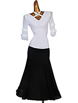 cheap -Ballroom Dance Skirts Ruching Women's Performance Half Sleeve High Spandex