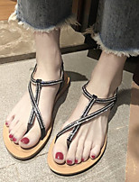 cheap -Women's Sandals Flat Sandal Summer Flat Heel Open Toe Daily PU Black / Beige
