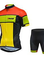 Недорогие -21Grams Муж. С короткими рукавами Велокофты и велошорты Черный / желтый Велоспорт Устойчивость к УФ Быстровысыхающий Виды спорта С узором Горные велосипеды Шоссейные велосипеды Одежда / Эластичная
