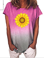 cheap -Women's Floral Color Gradient Daisy T-shirt Daily Blue / Purple / Yellow / Blushing Pink / Green / Light Green
