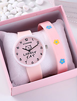 cheap -Women's Quartz Watches Fashion Word Watch Pink Silicone Chinese Quartz Blushing Pink Chronograph Creative Casual Watch 2 Piece Analog One Year Battery Life